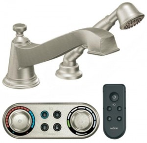 Moen Electronic Roman Tub Filler Faucet with Personal Hand Shower from the Rothbury Collection