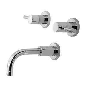 Newport Brass 3-1505 East Linear Double Handle Wall Mounted Lavatory Faucet with Metal Lever Handles