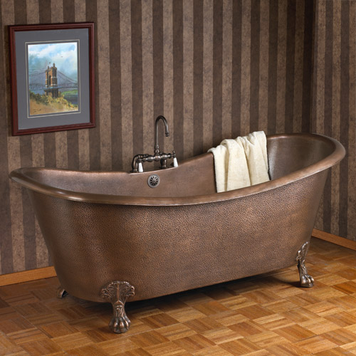 Copper Double Slipper Tub Hammered Antique Copper