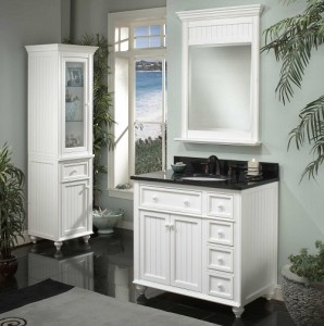 "Sagehill Designs Wide Framed Vanity Mirror from the Cottage Collection (with 36"" Vanity)"