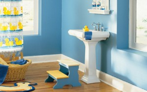 Simple White Pedestal Sinks Look Equally Great With Bold Kid Colors And Classical Elegant Decor