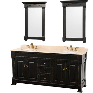 Andover 72 Inch Traditional Bathroom Double Vanity In Black