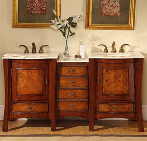 Asian Inspired Double Vanity With Cherry Finish From Silkroad Exclusive