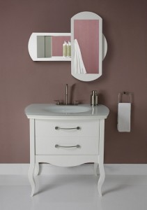 Decolav Gabrielle White Wood Vanity With Glass Top