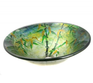 Hand Painted Bamboo Design Glass Vessel Sink
