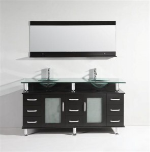 Legion Double Vanity With Floating Glass Counter