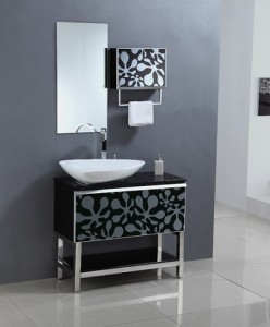 Legion Tempered Glass And Steel Black And White Modern Vanity