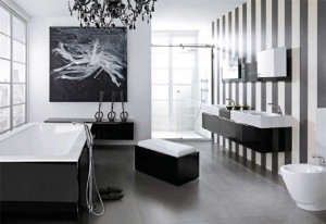 This Bathroom Aims For An Equal Balance Of Black And White And Hits The Mark Beautifully