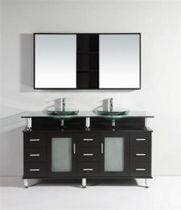 Black Vanity With Floating Glass Counter WT9119