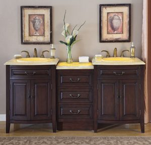 Traditional Double Vanity With Yellow Onyx LED Countertop