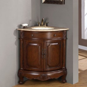 Corner Bathroom Vanity LTP 0126B-T from Silkroad Exclusive
