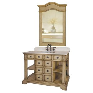 Distressed Parchment Antique Style Vanity From Belle Foret