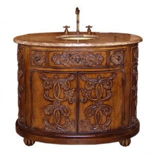 Legion Antique Walnut Vanity With Brown Marble