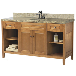 Pegasus Exhibit 60 Inch Bathroom Vanity With Rich Cinnamon Finish