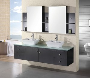 Portland 72 Inch Wall Mounted Double Vanity In Espresso