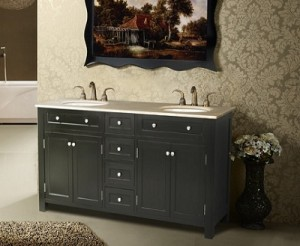 Vesta Double Sink Vanity With Travertine Marble Top
