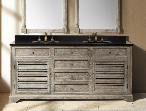 Rustic bathroom vanities for a casual country style bathroom for Gray rustic bathroom