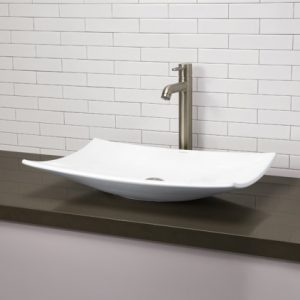 Classically redefined rectangular vitreous china vessel sink from