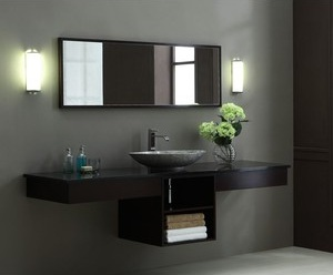 Dark Walnut Double Shelf Vanity From Xylem