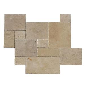 Ivory Chiseled And Brushed Versailles Pattern Travertine Tile