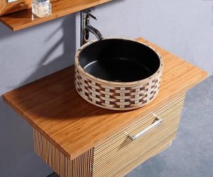 Light Bamboo Wall Mounted Bathroom Vanity From Legion Furniture