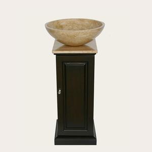 Bathroom Sink Vanity on Roman Column Style Vanity With Travertine Vessel Sink From Silkroad