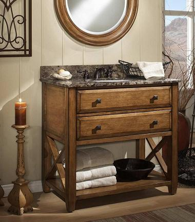 Rustic bathroom vanities for a casual country style bathroom Rustic country style bathrooms