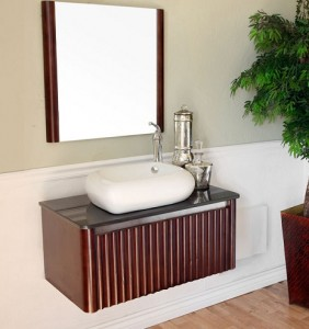 Solid Walnut Wall Mounted Bathroom Vanity From Bella Terra