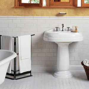 Traditional Subway And Honeycomb Bathroom Tiling