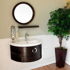 Zebra Wood Modern Wall Mount Vanity From Bellaterra Home