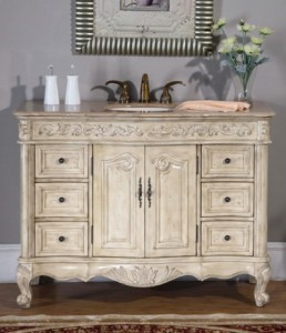 weathered antique white bathroom vanity from silkroad exclusive - Antique Bathroom Vanity