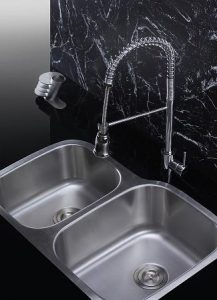 Commercial Style Pullout Spray Faucet With Double Bowl Stainless Steel Sink  From Ruvati