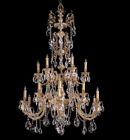 Large crystal chandeliers for big luxurious spaces palmer ornate cast brass chandelier with hand cut crystals aloadofball Image collections