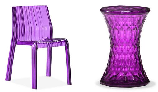 Ruffle Chair And Prisma Stool In Purple From Zuo
