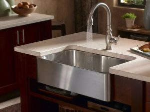 Satin Nickel Faucet And Stainless Steel Farmhouse Sink Form Artisan Part 40