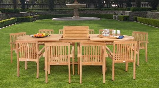 Teak 11 PIece Dining Set From Caluco