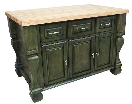 Aqua Green Kitchen Island From Hardware Resources With Optional Maple Butcher Block