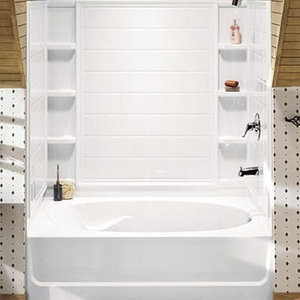Ensemble Tiled Shower Tub With Shelving From Sterling