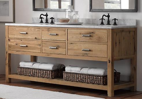 Logan Double Washstand In Reclaimed White Oak From Restoration Hardware