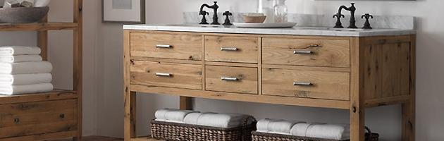 Weathered Wood Bathroom Vanities For A Cottage Style Bathroom