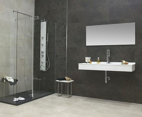 Hot new bathroom tile trends looks to try for your next for Large bathroom tiles in small bathroom