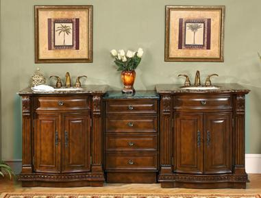 Antique bathroom vanity sets old world style with a modern convenience for Modular bathroom vanity pieces