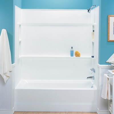 Choosing a new bathtub for your next bathroom remodel for Bathroom sink surround