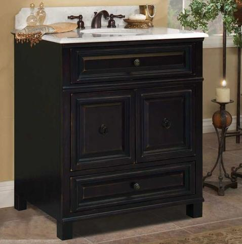 Weathered black bathroom vanities getting a grunge free for Bathroom cabinets 30 inch