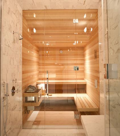 Components of a spa style bathroom for your master suite for Master bathroom with sauna