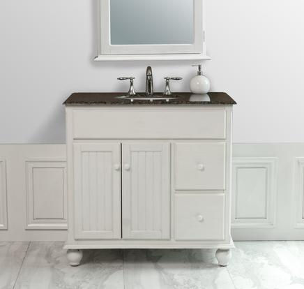 snow white single sink bathroom vanity with granite top and mirror