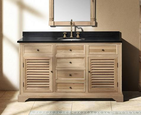 Natural wood bathroom vanities to complete a spa style for Bathroom cabinets natural wood