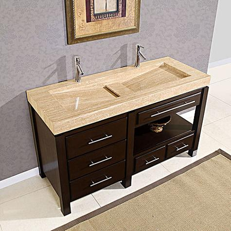 double vanity with roman vein cut travertine integrated sink from