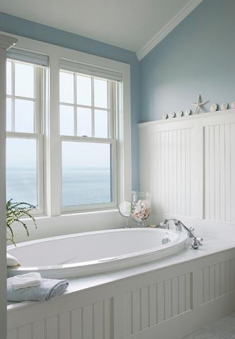 Elements of a cape cod bathroom design for a luxurious for Seascape bathroom ideas