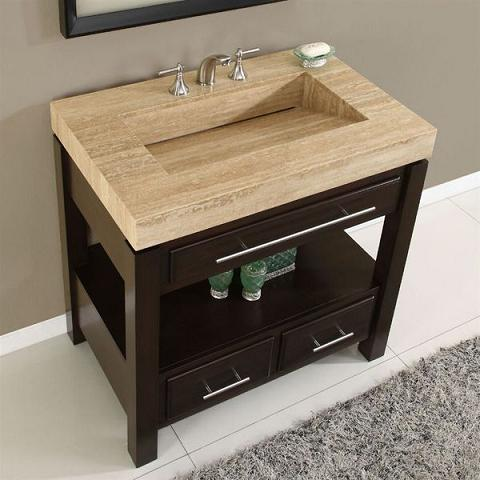 Travertine Sinks Bathroom : Single Bathroom Vanity With Travertine Ramp Sink From Silkroad ...